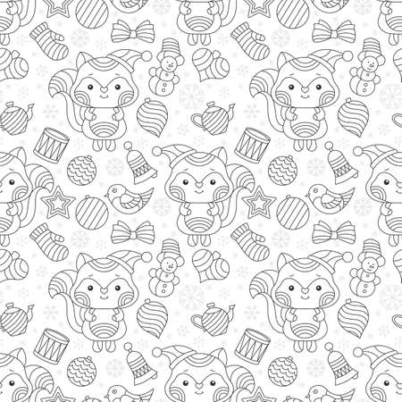 Seamless pattern on the theme of New year and Christmas, contour Christmas tree toys, raccoons, Foxes and snowflakes, dark outlines on a white background