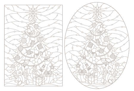 Contour illustrations of a stained glass window with a Christmas trees and a toy bear, dark outlines on white background