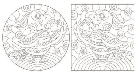 Set of outline illustrations in the style of stained glass with abstract parakeets, dark outlines on white background 矢量图像