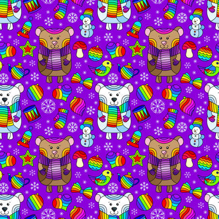 Seamless pattern on the theme of New year and Christmas, bright Christmas tree toys, bears and snowflakes on a purple background Illustration