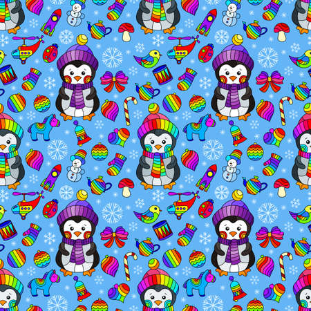 Seamless pattern on the theme of New year and Christmas, bright Christmas tree toys, penguins and snowflakes on a blue background 矢量图像