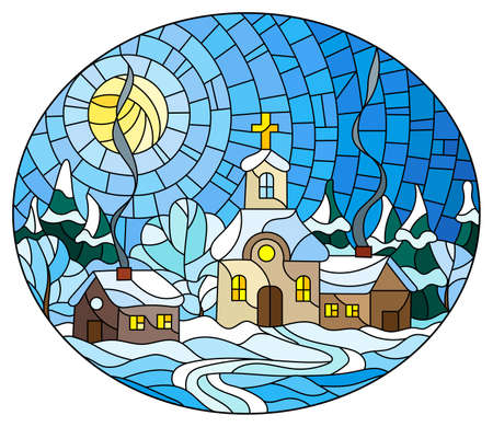 Illustration in stained glass style with a cozy village landscape, a Church against a background of snow-covered trees and a Sunny sky