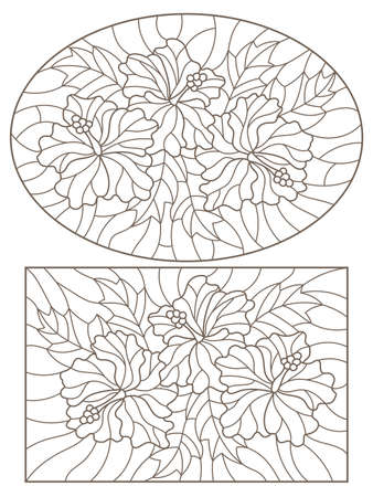 Set of contour illustrations in stained glass style with hibiscus flowers and leaves, dark outlines on a white background