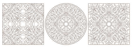 Set contour illustrations of stained glass with abstract swirls and flowers, dark outlines on a white background