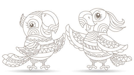 Set of stained glass elements with carton outline parakeets, contour birds isolated on white background 免版税图像 - 159726560