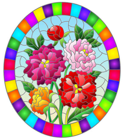 Illustration in stained glass style with a bouquet of peonies on a blue background, oval image in bright frame 矢量图像