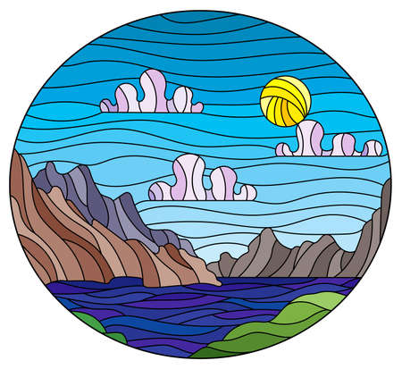 Illustration in stained glass style with a wild landscape, a lake on a background of mountains and a Sunny sky, oval image 矢量图像