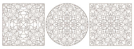 Set contour illustrations of stained glass with abstract swirls and flowers, dark outlines on a white background 免版税图像 - 159718612
