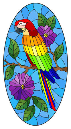Illustration in stained glass style with a bright parrot on a background of flowers and blue sky, oval image