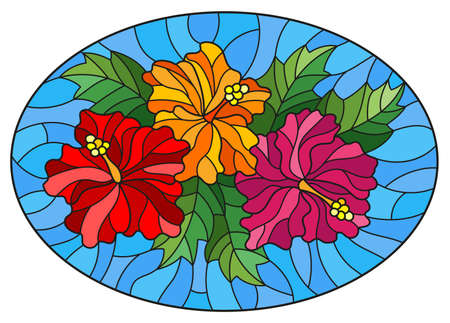 Illustration in a stained glass style with a flower arrangement, hibiscus flowers and leaves on a blue background, oval image
