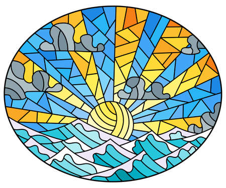 Illustration in stained glass style with seascape, sun on blue sky and sea background 矢量图像