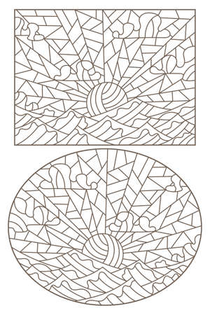 Set of contour illustrations of stained glass Windows with seascapes, dark outlines on a white background