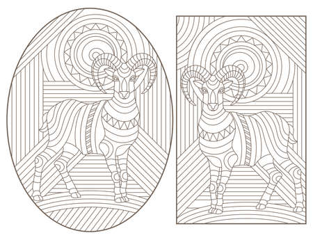 Set of contour illustrations in stained glass style with rams on an abstract geometric background, dark contours on a white background