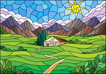 Illustration in a stained glass style with a summer landscape, a lonely house against the background of fields, mountains and a Sunny sky 矢量图像