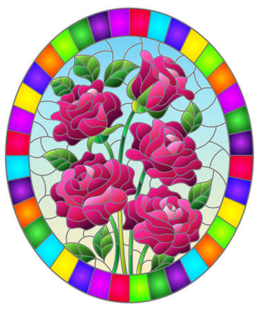 Illustration in stained glass style with a bouquet of pink roses on a blue background, oval image in bright frame 矢量图像