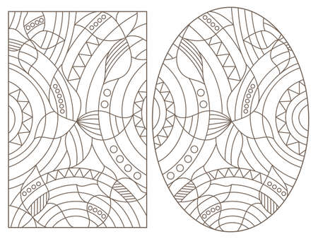 Set of contour illustrations in stained glass style with abstract butterflies, dark outlines on a white background