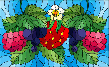 Illustration in stained glass style with ripe berries and leaves on a blue background, horizontal orientation 矢量图像