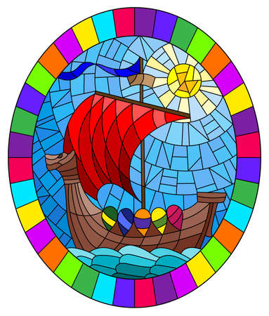 Illustration in stained glass style with an old ship on the background of the sea and the Sunny sky