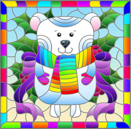 Illustration in stained glass style on the theme of the winter holidays of Christmas and New year, a toy polar bear on the background of Holly branches