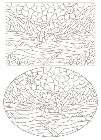 Set of contour illustrations in the stained glass style with summer landscapes, dark contours on a white background