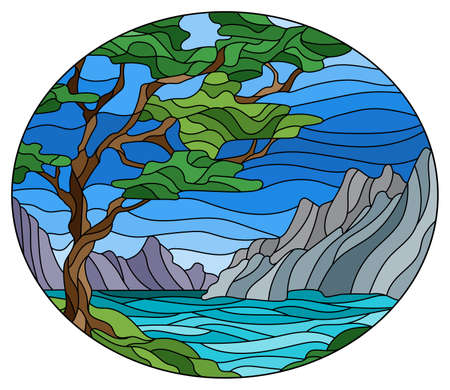 Illustration in stained glass style with a wild landscape, a green tree on a background of lake, mountains and a Sunny sky, oval image