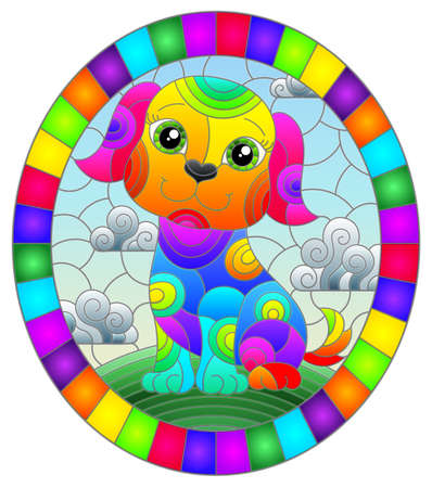 Illustration in stained glass style with abstract cute rainbow dog on a sky background, oval image in bright frame