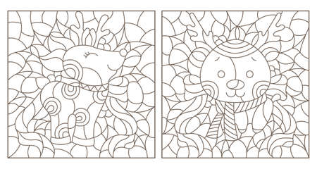Set of contour illustrations of stained glass Windows with funny cartoon deers and Holly, dark contours on a white background Illustration