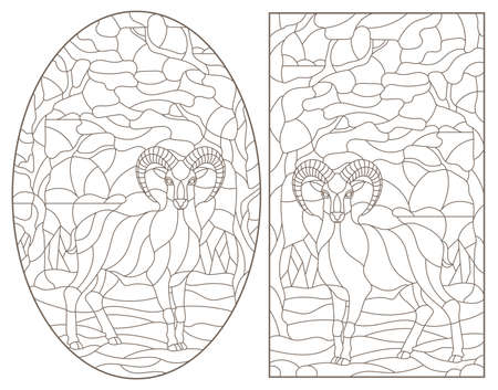 Set of contour illustrations of stained glass Windows with wild rams on a background of forest landscape, dark contours on a white background  イラスト・ベクター素材