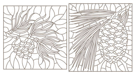 Set of contour stained glass illustrations with cedar cone on a branch, dark outlines on white background, rectangular image Vektorgrafik