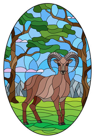 Illustration in stained glass style with wild RAM on the background of trees, mountains and sky, oval image