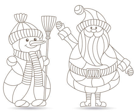 Set of contour illustrations in stained glass style with funny cartoon snowmen and Santa Claus, outline figures isolated on a white background