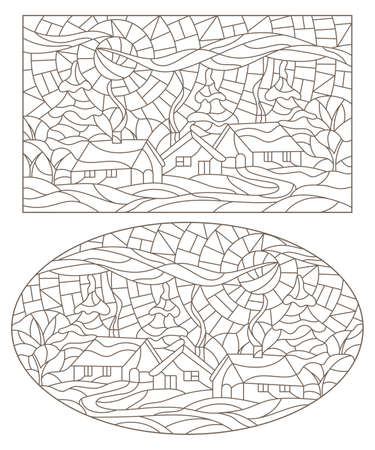 Set of contour illustrations in stained glass style with winter rural landscapes, dark outlines on a white background