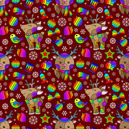 Seamless pattern on the theme of New year and Christmas, bright Christmas tree toys, deers and snowflakes on a burgundy background