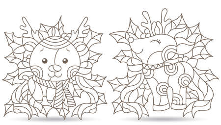 Set of contour illustrations in stained glass style with toy deers and Holly branches, dark outlines isolated on a white background Illustration