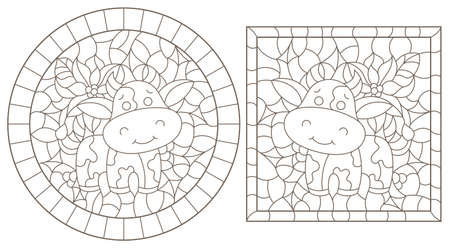 Set of contour illustrations of stained glass Windows with funny cartoon bulls and Holly, dark contours on a white background 免版税图像 - 160300176