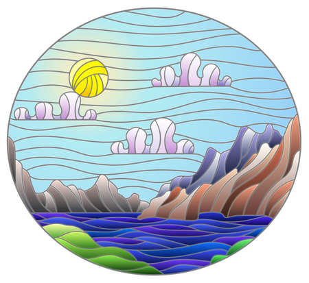 Illustration in stained glass style with a wild landscape, a lake on a background of mountains and a Sunny sky, oval image