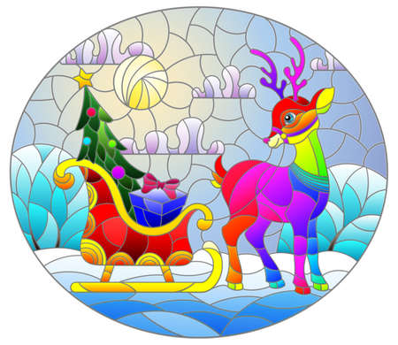 Illustration in stained glass style on the theme of Christmas and new year, a deer harnessed to a sleigh with gifts on the background of a winter night landscape, oval image