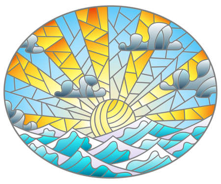 Illustration in stained glass style with seascape, sun on blue sky and sea background