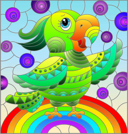 Illustration in stained glass style with abstract cute bright parakeet on a sky background with rainbow