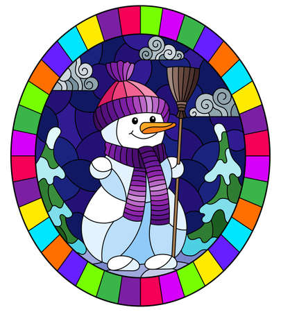 An illustration in the style of a stained glass window on the theme of winter holidays, a cheerful cartoon snowman in a hat and scarf, against the background of a winter night landscape, oval image in bright frame