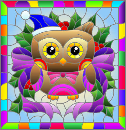 Illustration in stained glass style on the theme of the winter holidays of Christmas and New year, a toy owl on the background of Holly branches Illustration