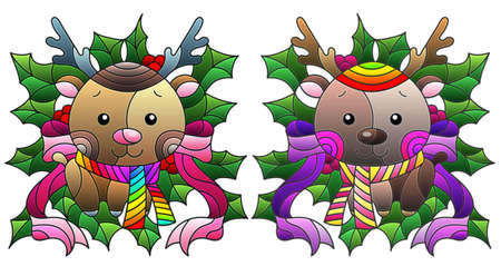 Set of illustrations with stained glass elements, toy deers and Holly branches, isolated on a white background 免版税图像 - 160370507