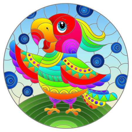 Illustration in stained glass style with abstract cute rainbow parakeet on a sky background 免版税图像 - 160370511