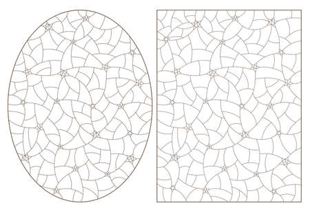 Set of outlines illustrations in the stained glass style with a starry sky, dark contours on a white background 免版税图像 - 160388308