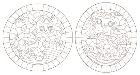 Set of outline illustrations in the style of stained glass with abstract dogs, dark outlines on white background, oval images 免版税图像 - 160388309