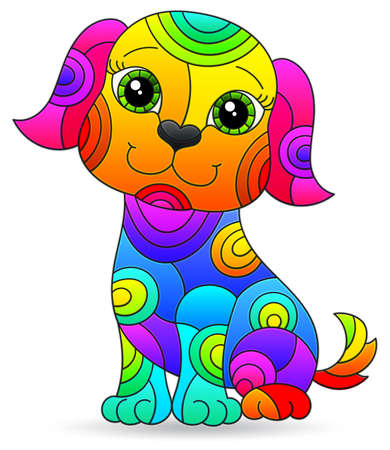 Illustration in stained glass style of a cartoon rainbow dog, isolated on a white background 免版税图像 - 160388311