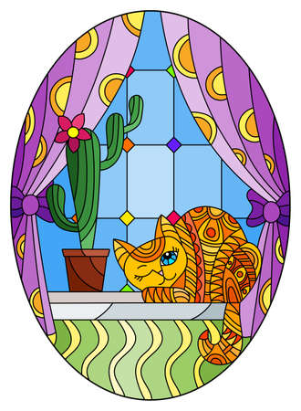 Illustration in stained glass style with a red cat and a pot with a cactus on the background of a window and curtains, oval image 免版税图像 - 160373093