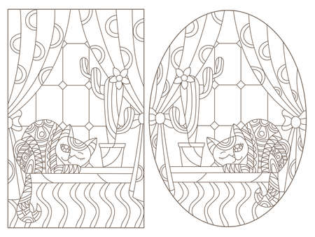 Set of contour illustrations in stained glass style with cats on the background of Windows, dark contours on a white background 免版税图像 - 160388334