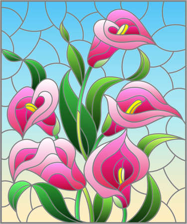 Illustration in stained glass style with a bouquet of pink Calla flowers on a blue background, rectangular image