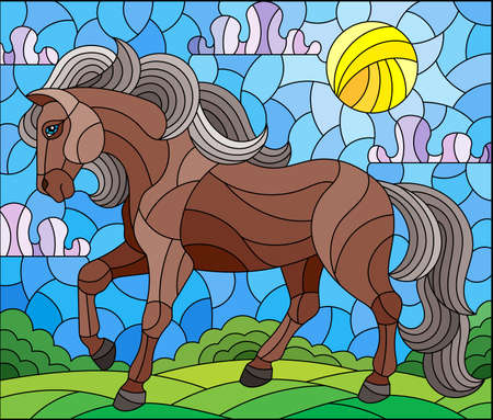 Illustration in stained glass style with a wild horse on a background of fields and a cloudy sky with the sun, rectangular image